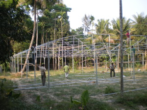 A structure of Polyhouse under construction