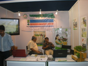 Interacting with a visitor in a trade fair in Kolkata