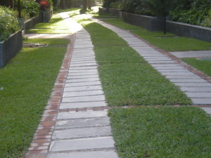 A walk way in a residential complex